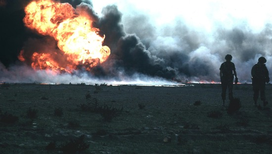 Égő olajmező