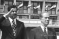 Szaddam Husszein és Fock Jenő a Ferihegyi repülőtéren