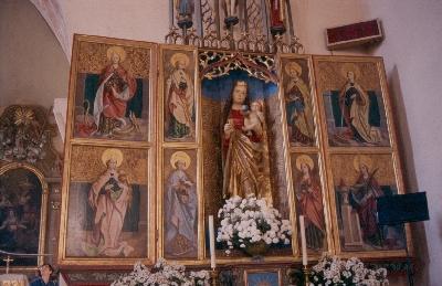 A kakaslomnici plébániatemplom - Szűz Máriának szentelt késő-gótikus szárnyasoltára