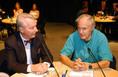 Vizi E. Szilveszter és Sir Harold Kroto a Millenáris Park Színháztermében