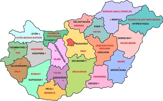 Magyarország térképe a megyékkel