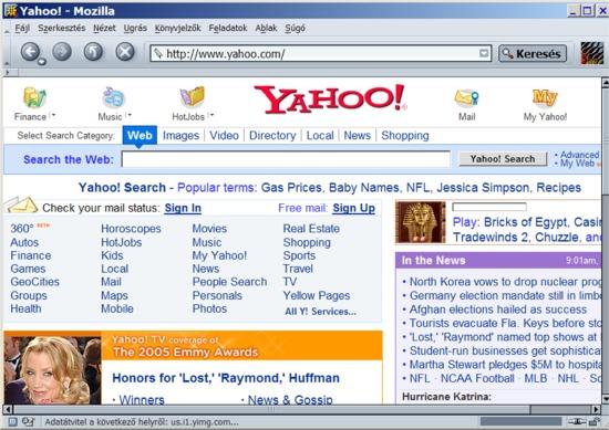 Yahoo képernyőképe