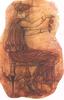 Római asszony illatszert önt egy üvegcsébe (falfestmény)