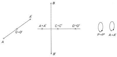 Középpontos és tengelyes tükrözés fix pontjai -ábra
