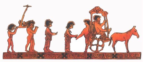 Májusfával indulnak a gyerekek a Dionüszosz-ünnepre (görög vázakép)