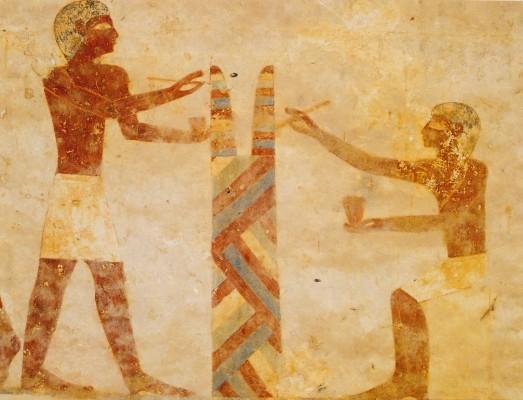 Két festő munka közben, III. Baket kormányzó sírja