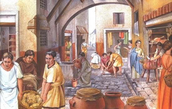 Reggeli utcai jelenet Rómában