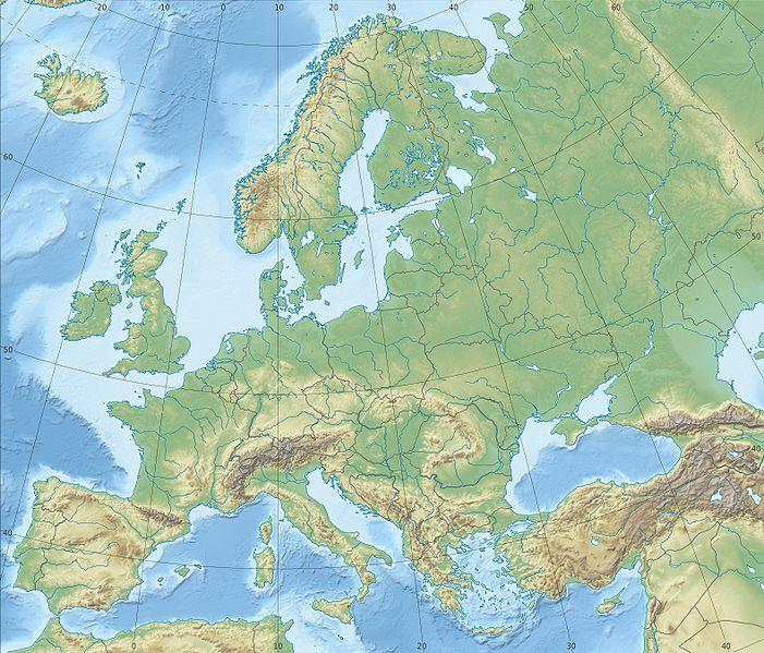 Európa domborzati térképe