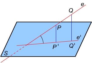 Egyenes és sík hajlásszöge - ábra