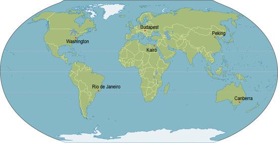 6 város pontos helymeghatározása a földgömbön