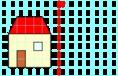 Házikó tükrözése négyzetrácson