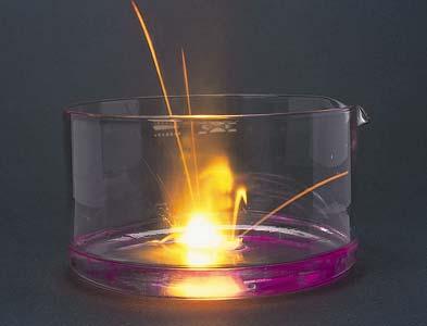 Papírcsónakban vízre helyezett nátrium reakciója vízzel