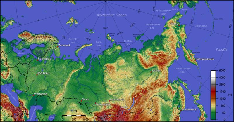 Oroszország szerkezeti-domborzati térképe