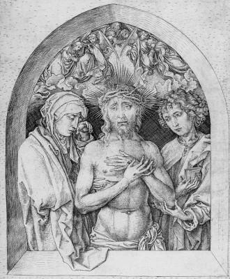 Fájdalmas Krisztus Szűz Máriával és Evangélista Szent Jánossal