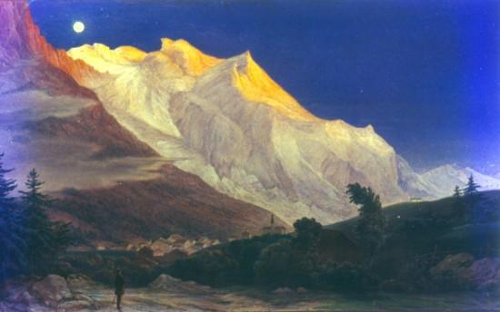 Schnorr von Carolsfeld, Ludwig Ferdinand: Chamonix völgye a Mont Blanc-nál. 1848. Österreichische Galerie, Bécs.