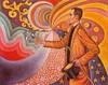 Signac, Paul: Felix Féneon portréja, méretek, szögletek, színek és fényárnyék értékek tekintetében ritmikus háttér előtt. 1890. Mgt..