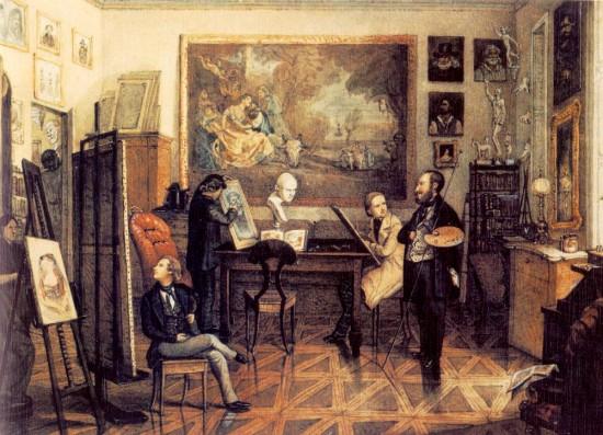 Than, Mór: Barabás Miklós műterme. 1847. Magyar Nemzeti Galéria, Budapest. akvarell, 129 x 173 mm