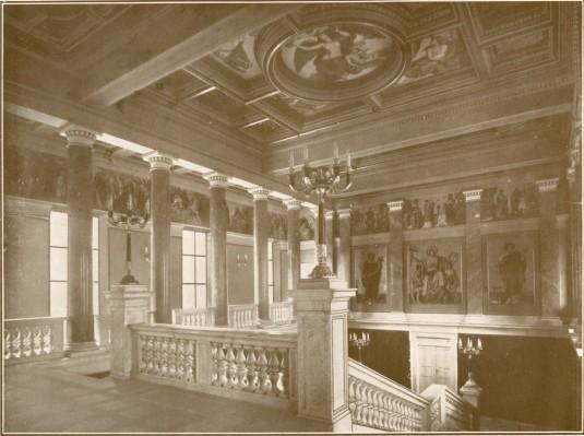 Lotz Károly (1833-1904) Than Mór (1828-1899): A Nemzeti Múzeum lépcsőháza freskói: A lépcsőház összképe . 1873-76. Magyar Nemzeti Múzeum lépcsőháza, Budapest.