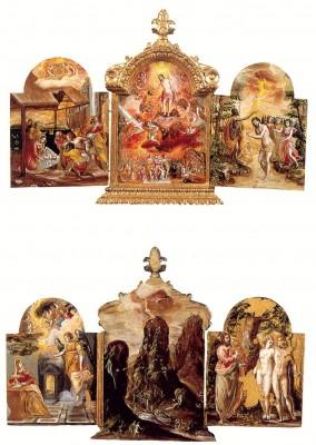 El Greco: A modenai triptichon első és hátsó oldala