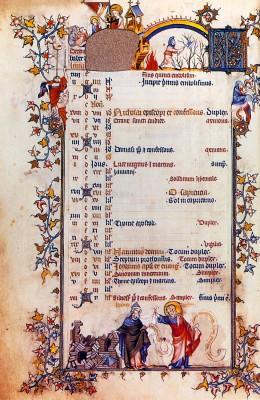 Jean Pucelle: A Belleville-breviárium decembert ábrázoló lapja