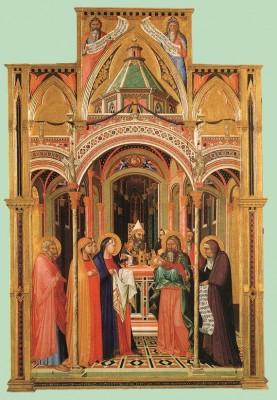 Ambrogio Lorenzetti: Bemutatás a templomban.
