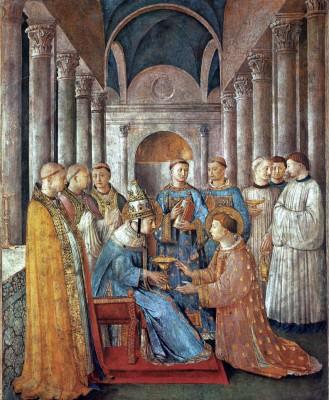 Fra Angelico: Szent Sixtus pápa diakónussá szenteli Szent Lőrincet