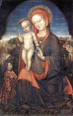 Jacopo Bellini: Mária gyermekével és Lionello d'Estével