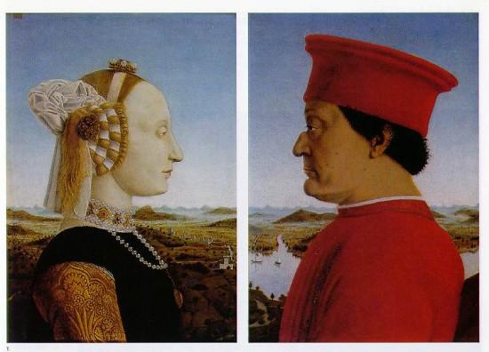 Piero della Francesca: Federigo da Montefeltro és Battista Sforza portréja