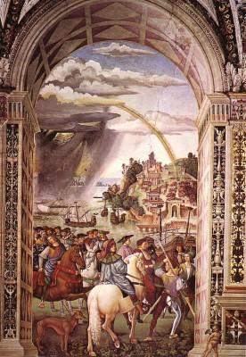 Bernardino Pinturicchio: Enea Silvio Piccolomini elindul a bázeli zsinatra