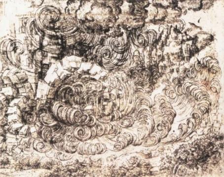 Leonardo da Vinci: Tanulmányrajz az özönvíz sorozatból, természeti katasztrófa