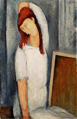 Amedeo Modigliani: A jobbra forduló Jeanne Hebuterne arcképe