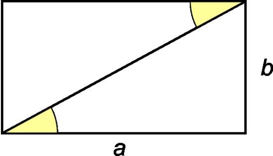 Egy téglalap és területe derékszögű háromszögekhez