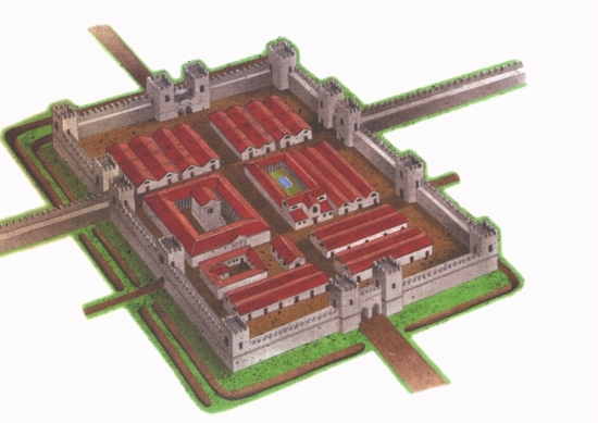 Nagyobb erődítmény Hadrianus Falánál Észak Britaniában (Skóciától délre)