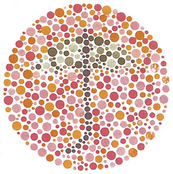 Látásvizsgáló ábra a vörös-zöld színtévesztés kimutatására