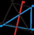 Háromszög tükrözése a háromszögön átmenő tengelyre
