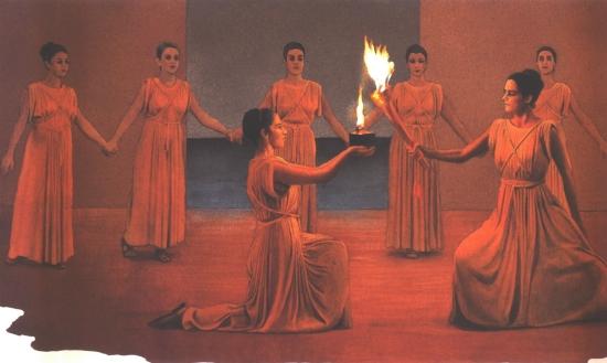 Az olimpiai láng meggyújtásának ceremóniája az ókor játékok váltófutó versenyére vezethető vissza