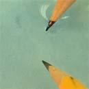 Elektrolízis ceruzákkal - Univerzál indikátort tartalmazó víz elektrolízise1