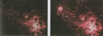 A bal oldali képen a nyíl hegye mutatja a csillagot a robbanás előtt