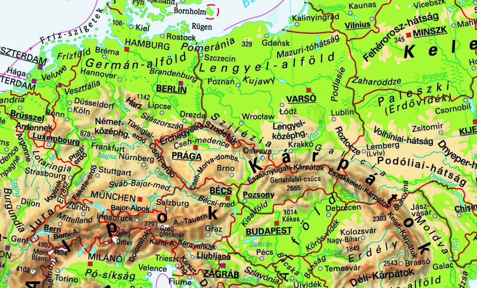 közép európa domborzati térkép Közlekedési földrajz | SuliTudásbázis közép európa domborzati térkép