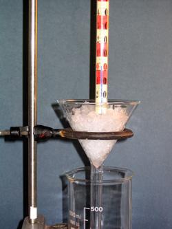 A hőmérő nulla pontjának hitelesítése olvadó jéggel