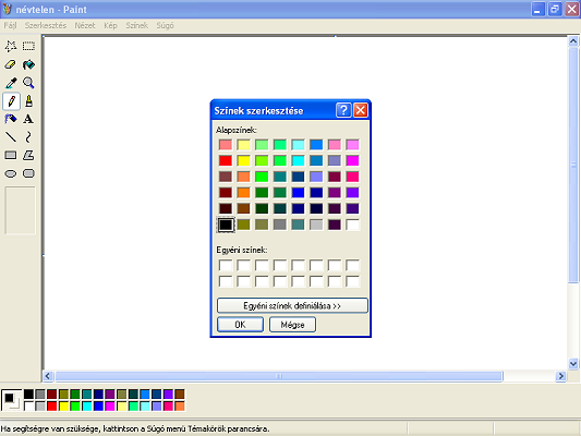 Alapszínek és egyéni színek a Paint-ben