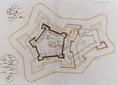 Eger várának alaprajza különböző kiépítési tervekkel 1600 körül