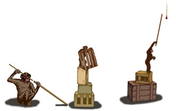 A majmok eszközhasználatát szemléltető rajz