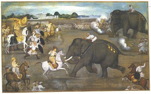 800px-Prince_Awrangzeb_(Aurangzeb)_facing_a_maddened_elephant_named_Sudhakar_(7_June_1633)