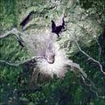 Vulkáni kráter madártávlatból