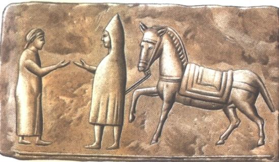 A római fogadósnő a távozó vendéggel éppen a számlát tárgyalja meg