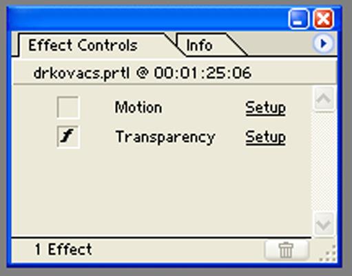 Effect controls felület