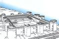 Az aquincumi ellenerőd falai és tornyai a 4.században a Gellért-heggyel átellenben
