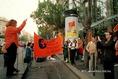 Békés demonstráció a Világbank magyarországi székhelye előtt
