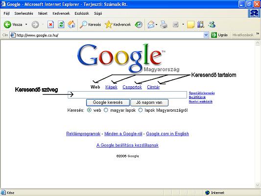 A Google nyitóoldal
